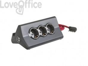 Multipresa da scrivania bticino con 3 prese P30 e 2 prese USB antracite S3713GBU