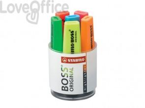 Evidenziatori Stabilo Boss Original 2-5 mm assortiti Cilindro in plastica con 6 pezzi - 7006