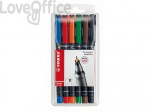 Penne Stabilo OHPen universal Superfine (S) 0,4 mm assortiti astuccio da 6 - 841/6
