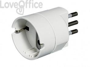 Adattatore con spina 2P+T 16A e presa tedesca bticino potenza 1500W bianco S3623DBOX