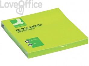 Foglietti riposizionabili Q-Connect 70 g/m² verde neon 76x76 mm 6 blocchetti da 75 ff - KF10515
