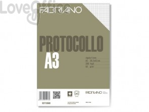Fogli protocollo Fabriano PROTOCOLLO bianco 60 g/m² 29,7x42 cm rigato a 5 mm conf. da 200 fogli - 02810560