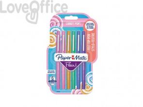 Penne punta fibra Paper Mate Flair/Nylon Candy Pop 1,0 mm assortiti - 2028899 (blister da 6)
