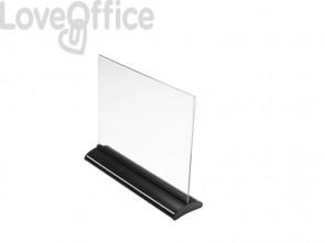 Porta-avvisi deflecto® A4 orizzontale in polimetilmetacrilato trasparente e nero 58445