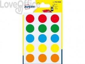 Etichette rotonde colori assortiti AVERY Ø19 mm 6 fogli - PSA19MX