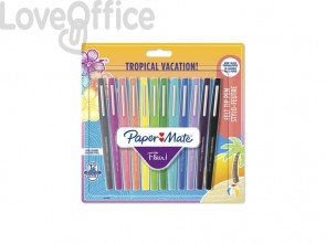 Penne punta fibra Paper Mate Flair/Nylon Tropical Vacation 1,0 mm assortiti bliter da 12 - 1951029