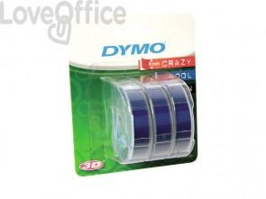 Nastri a rilievo per etichettatrici Dymo vinile 9 mm x 3 m blu - S0847740 (blister da 3)