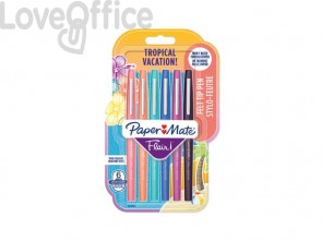 Penne punta fibra Paper Mate Flair/Nylon Tropical Vacation 1,0 mm assortiti blister da 6 - 2028906