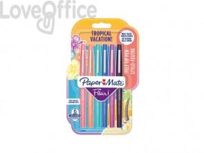 Penne punta fibra Paper Mate Flair/Nylon Tropical Vacation 1,0 mm assortiti - 2028906 (blister da 6)