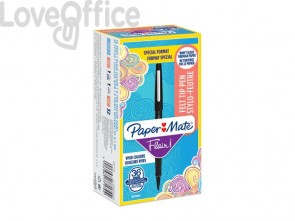 Penne punta fibra Paper Mate Flair/Nylon M 1,1 mm nero - 2077174 (special pack 36 pezzi)