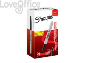 Marcatori permanente Sharpie Fine F punta conica 1 mm nero special pack 24 pezzi - 2077128