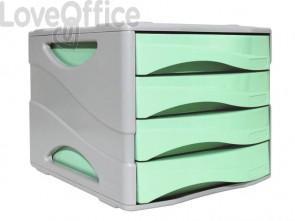 Cassettiera 4 cassetti ARDA Keep Colour Pastel polistirolo antiurto grigio/verde 15P4PPASV