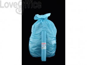 Sacchi Rolsac 70x110 cm spessore 17 my 97 l azzurro rotolo da 10 pezzi - 10331