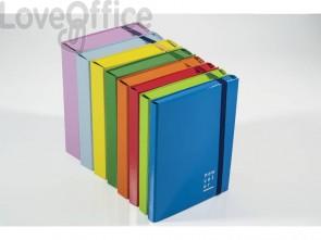 Cartella a 3 lembi con elastico piatto BREFIOCART NEW COLOR 25x35 cm dorso 2 cm blu - 0221302.BL