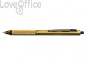 Penna 4 funzioni a scatto Osama Quadra satinata - Oro