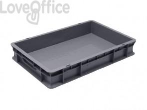 Cassa di movimentazione in PPL Viso 40x60x10 cm grigio E6412