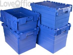 Cassa impilabile per alimenti in PPL 50 L Viso 600x400x305 mm blu DSW5539