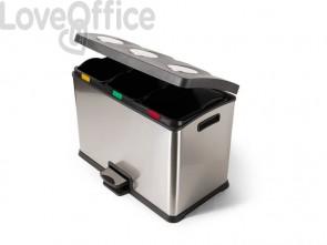 Contenitori portarifiuti perfetto bin Ricicla Box - 3 secchi inox / nero 0468B