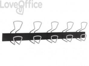 Appendiabiti da parete Alba in metallo e plastica colore nero 5 ganci - PMPRO5M