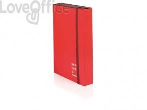 Cartella a 3 lembi con elastico piatto BREFIOCART NEW COLOR 25x35 cm dorso 10 cm arancio - 0221301.AR