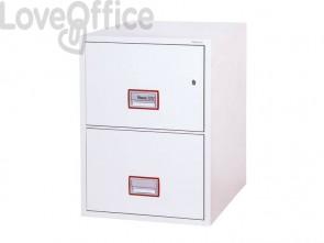 Classificatore ignifugo Phoenix bianco - Ral 9003 2 cassetti da 49lt. con chiave di alta qualità - FS 2252 K