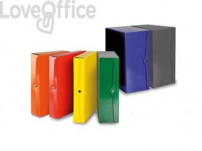 Portaprogetti con bottone EURO-CART presspan monolucido 25x35 cm dorso 4 cm grigio - CP04GR