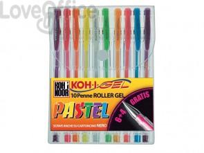 Penne gel KOH-I-NOOR 0,7mm colori pastello assortiti conf.10 - NAGP10P