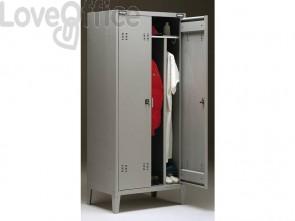 Spogliatoio Tecnical 2 a 2 posti con divisorio sporco/pulito - Acciaio 7/10 monoblocco
