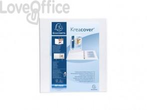 Raccoglitore personalizzabile Exacompta A4 maxi Kreacover® bianco 4 anelli a D 50 mm - 51944E