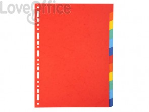 Intercalari in carta Exacompta 12 tasti colori vivaci cartoncino riciclato A4 220 g/mq - 2012E (conf.3)