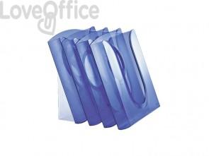 Espositore scrivania/muro/pavim. Leitz PRESENTER - polistirolo A4 vert. azzurro traslucido set da 4 vaschette - 54000134