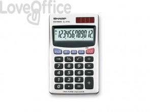 Calcolatrice tascabile a doppia alimentazione SHARP con display a 12 cifre argento - EL 379 SB