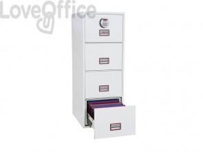Classificatore ignifugo Phoenix bianco - Ral 9003 4 cassetti da 49lt. con serratura elettronica R3 - FS 2254 E