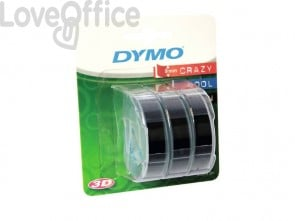 Nastri a rilievo per etichettatrici Dymo vinile 9 mm x 3 m nero - S0847730 (blister da 3)