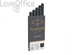 Cartucce inciostro per stilografica Parker Quink nero F - 1950382 (conf.5)