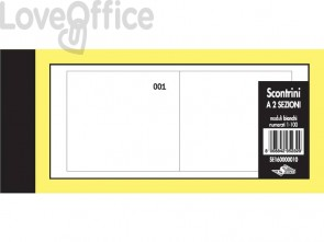 Scontrini numerati Semper a due sezioni - blocco di 100 copie numerate 5,8x13 cm bianco