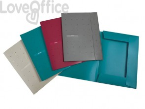 Cartelline a 3 lembi con elastico FAVORIT Matrix 24x33 cm blu ottanio 400101761