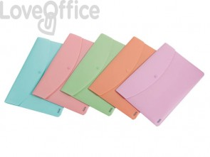 Busta con bottone e con zip FAVORIT polipropilene assortiti pastel 400116128