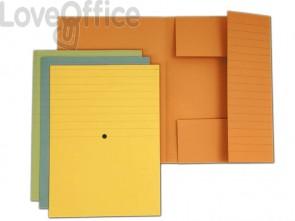 Cartelline a 3 lembi incollati 4Mat A4 in carta woodstock 285 g/m² dorso 2 cm blu  conf. da 20 pezzi - 3440 01