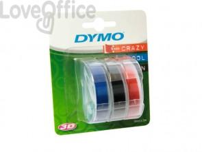 Nastri a rilievo per etichettatrici Dymo vinile 9 mm x 3 m assortiti - S0847750 (blister da 3)
