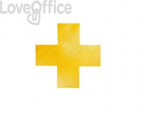 """Segnaletica da pavimento forma """"croce"""" DURABLE RAL 1003 giallo 150x0,7x150mm conf. 10 - 170104"""