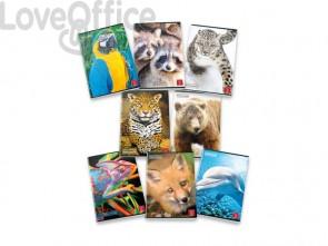 Animal World Pigna Quaderni a quadretti 1F con margine A4 - 42 fogli - Assortiti (conf.10)