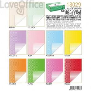 Carta regalo Kartos glossy Double Face 10 colori assortiti conf. 100 fogli - 18029