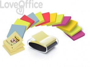 Dispenser foglietti adesivi Post-it® Z-Notes Black Stone nero/trasparente - PRO-B-14SSC-R330 (1 dispenser+ 14 blocchetti)