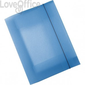 Leonardi - Cartelline con elastico in plastica - 3 lembi - Polipropilene - blu trasparente (conf.10)