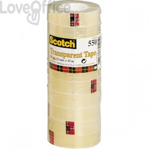 Nastro trasparente Alta Qualità Scotch® 550 - 15 mm x 66 m - 550-1566 (conf.10)