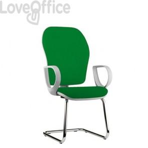 sedia ufficio verde in polipropilene con gambe a slitta