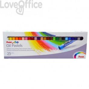 Pastelli a olio Pentel Arts Oil Pastel - 8 mm colori assortiti Conf. 25 pezzi - 0100525