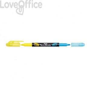 Evidenziatori Pentel Twin Checker a doppia punta 1-3 mm giallo-azzurro - SLW8-GS (conf.12)