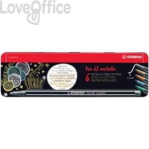 Pennarelli Stabilo Pen 68 metallic 1 mm scatola in metallo assortiti - 6806/8-32 (conf. 5 pezzi)